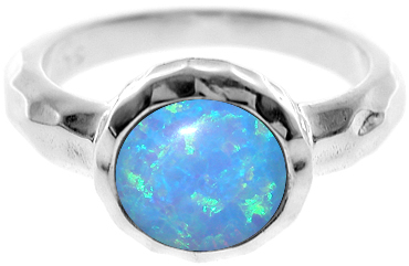Chunky Hammered Silver And Blue Opalite Ring- Armed & Gorgeous